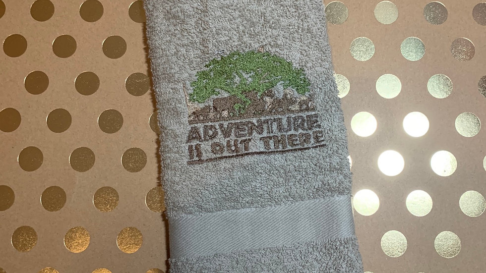 Adventure is out there embroidered towels, blanket, makeup ba
