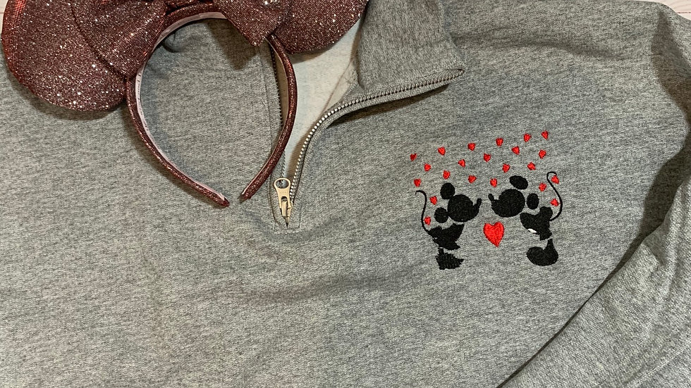 Minnie and Mickey with hearts embroidered hoodie, pullover, 1/4 zip