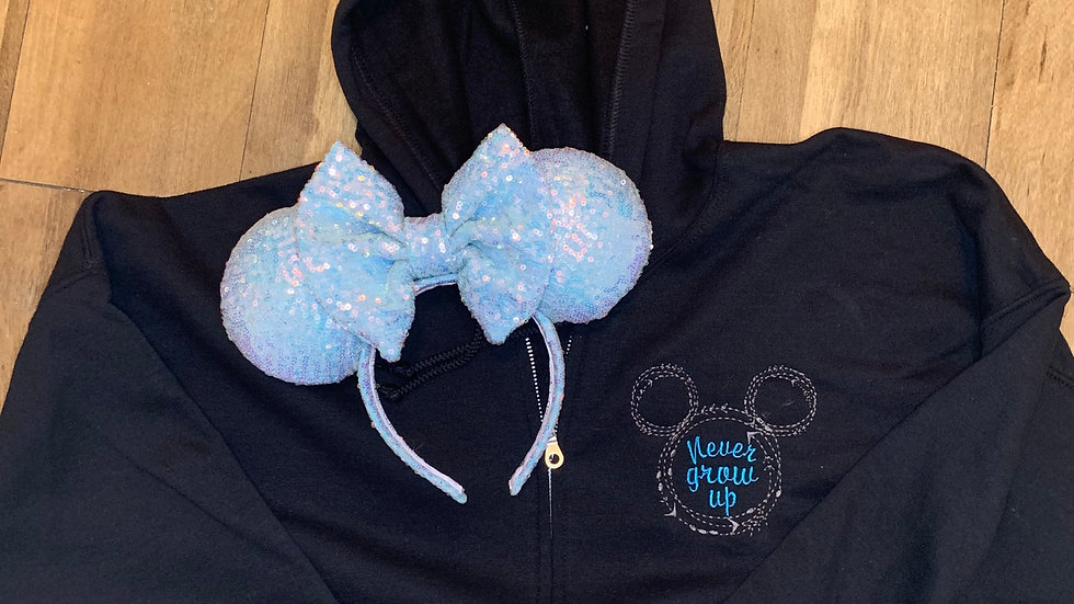 Never Grow Up Mickey Mouse embroidered zip up hoodie