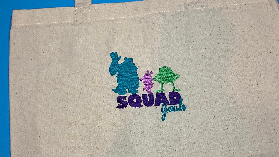 Monsters Inc Squad Goals embroidered market tote