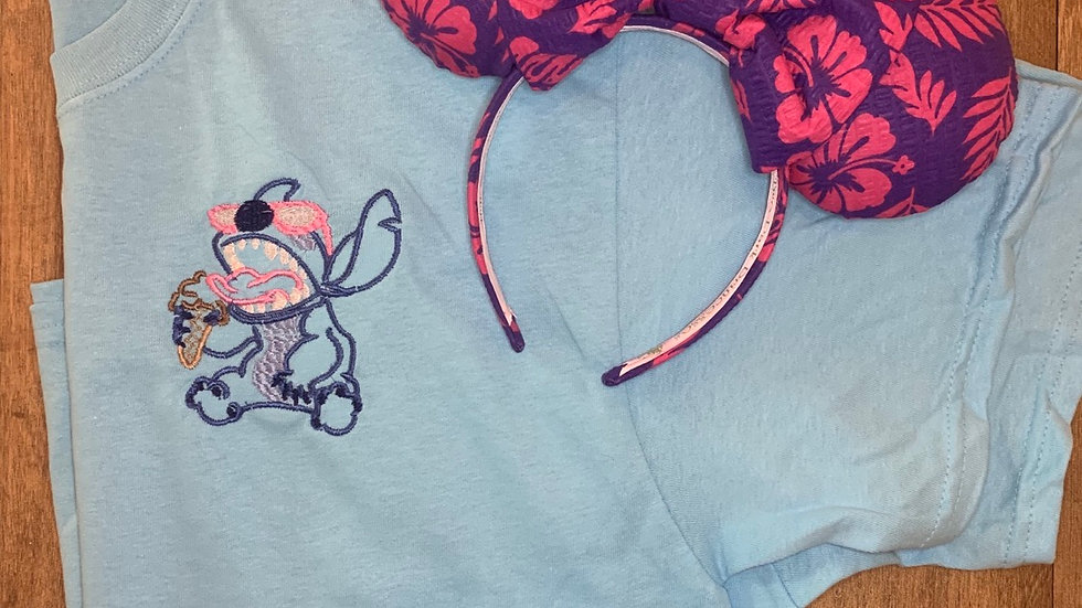 Stitch with Ice Cream embroidered t-shirt or tank