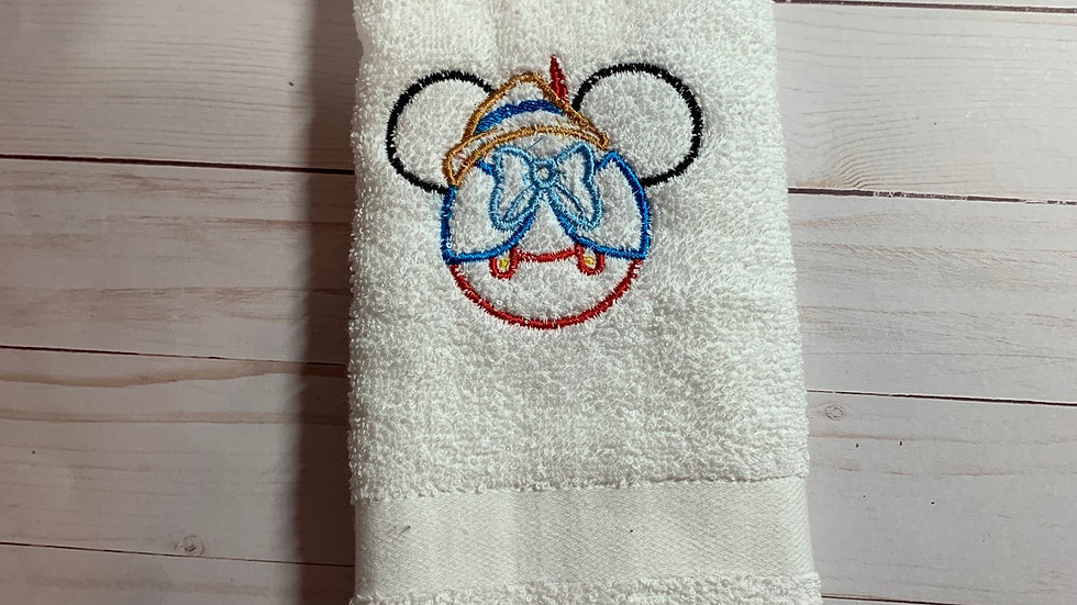 Pinocchio embroidered towels, blanket, makeup bag
