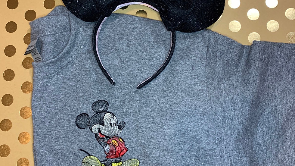 Bean Stitch Mickey Mouse embroidered T-Shirt or tank top