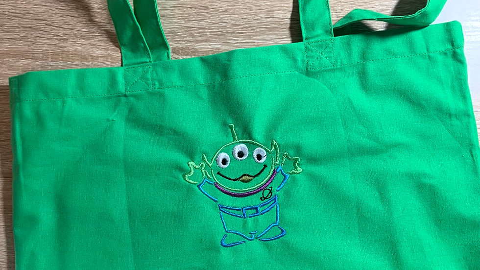 Little green alien embroidered market tote