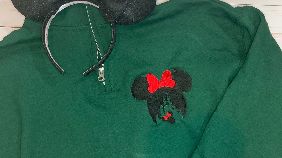 Minnie Mouse Head Silhouette embroidered hoodie, pullover, 1/4 zip