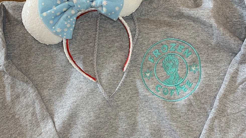 Frozen Coffee embroidered hoodie, pullover, 1/4