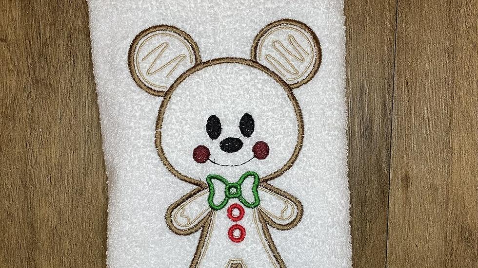 Mickey Gingerbread towels, makeup bag, tote
