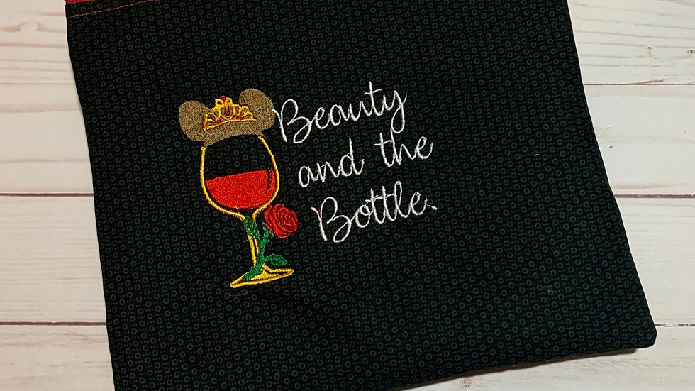 Beauty and the bottle embroidered towels, blanket, makeup bag