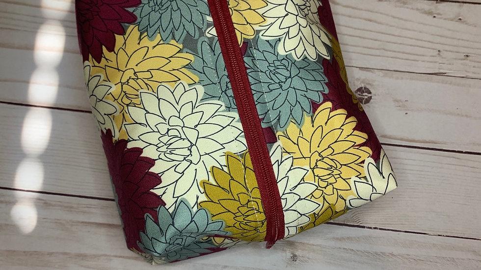 Mustard Floral boxy bag or makeup bag