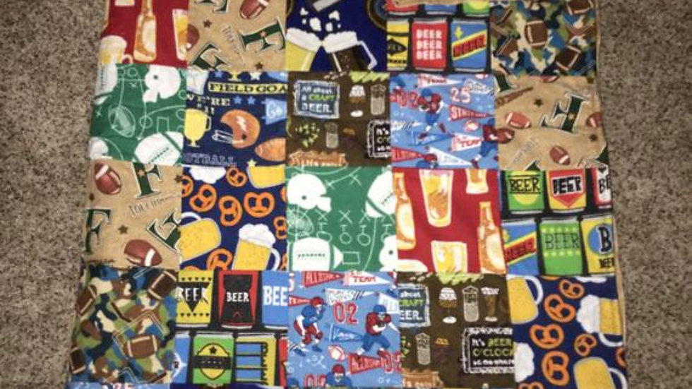 Football and beer adult minky blanket
