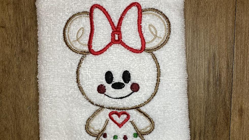 Minnie Gingerbread towels, makeup bag, tote