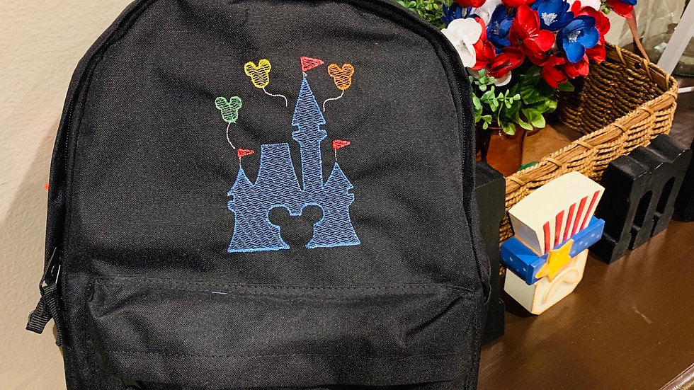 Mickey Castle balloon embroidered backpack