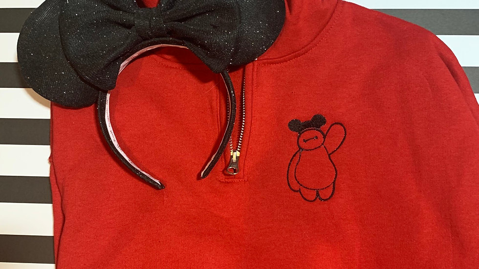 Baymax with Ears embroidered hoodie, pullover, 1/4 zip