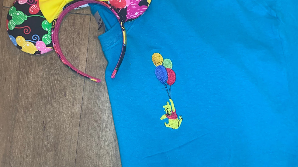Pooh with Balloons embroidered t-shirt or tank
