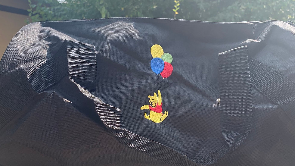 Pooh with Balloons embroidered duffel bag