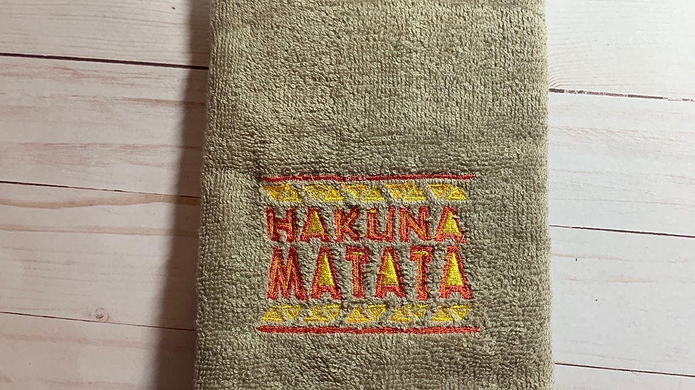 Hakuna Matata embroidered towels, blanket, makeup bag