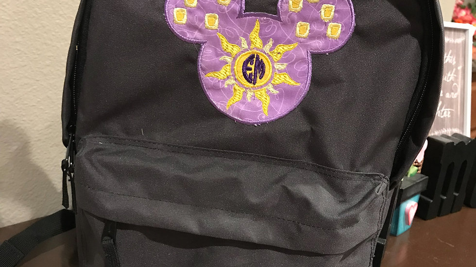 Rapunzel lantern embroidered backpack - Monogramming available