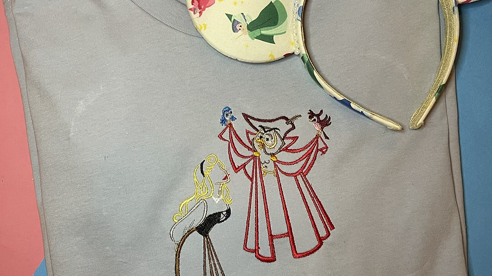 Briar Rose Dancing with the Owl - Sleeping Beauty Embroidered Tee or Tank