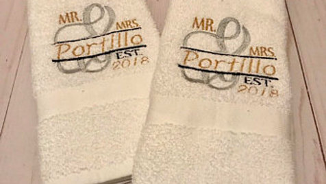 Mr. and Mrs. Embroidered Towels