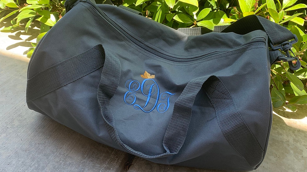 Monogram embroidered duffel bag