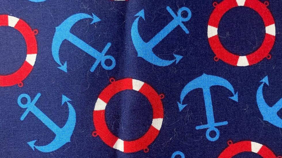 Nautical boxy bag or makeup bag