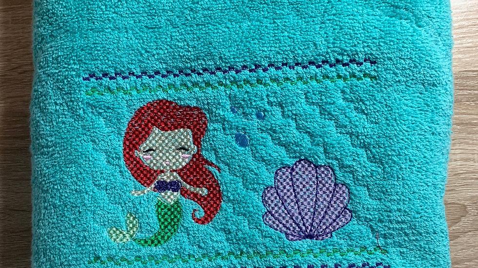 Ariel, little mermaid smock embroidered towels, blanket, makeup bag or t