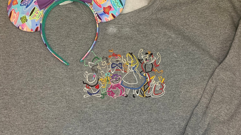 Alice and Friends embroidered hoodie, pullover, 1/4 zip