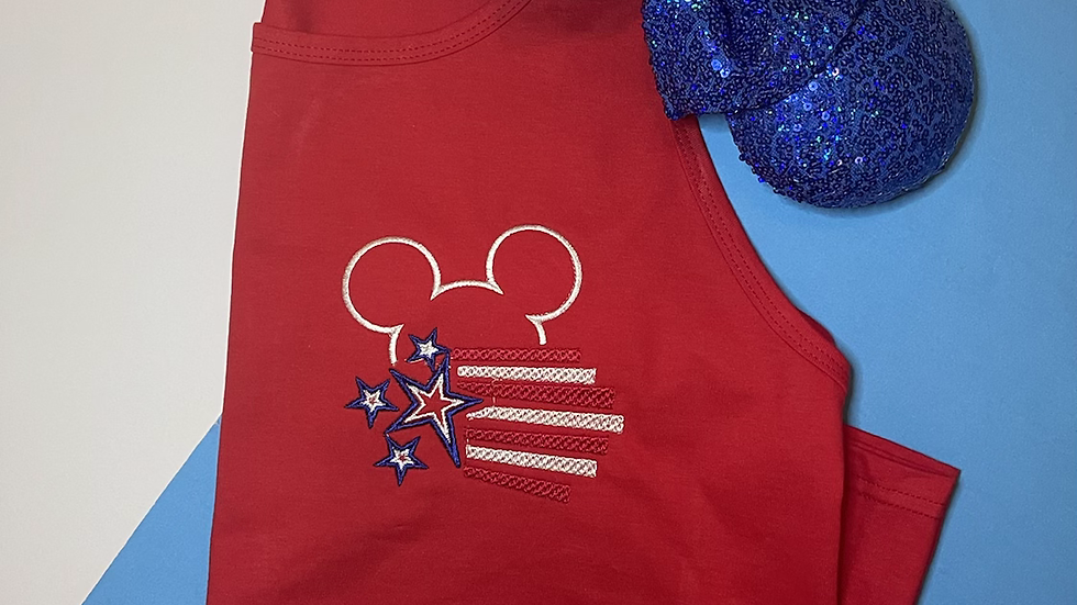 American Flag mickey embroidered Tee or Tank Top