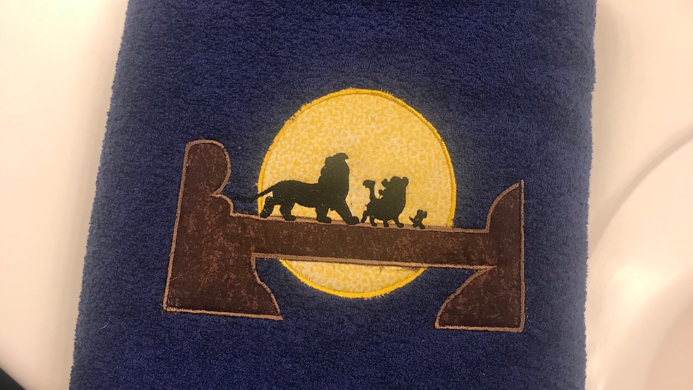 Lion King Scene Embroidered towel, tote bag, makeup bag, blanket - Name embroide