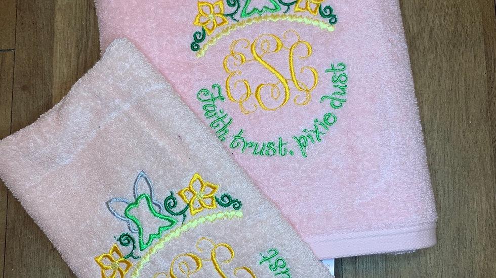 Faith Trust and Pixie Dust Monogram towels, makeup bag, tote