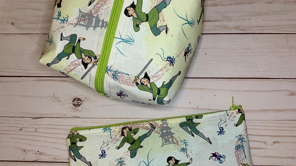Mulan in action boxy bag or makeup bag