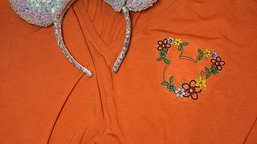 Floral Mickey Slouchy Women's V-Neck