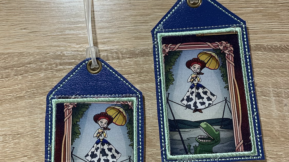 Jessie and Rex embroidered luggage tag