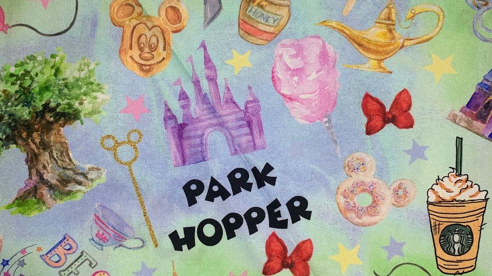 Watercolor Park Hopper boxy bag or makeup bag