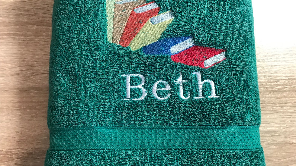 Book stack embroidered tote bag, makeup bag, blanket, towel - Name embroidery av