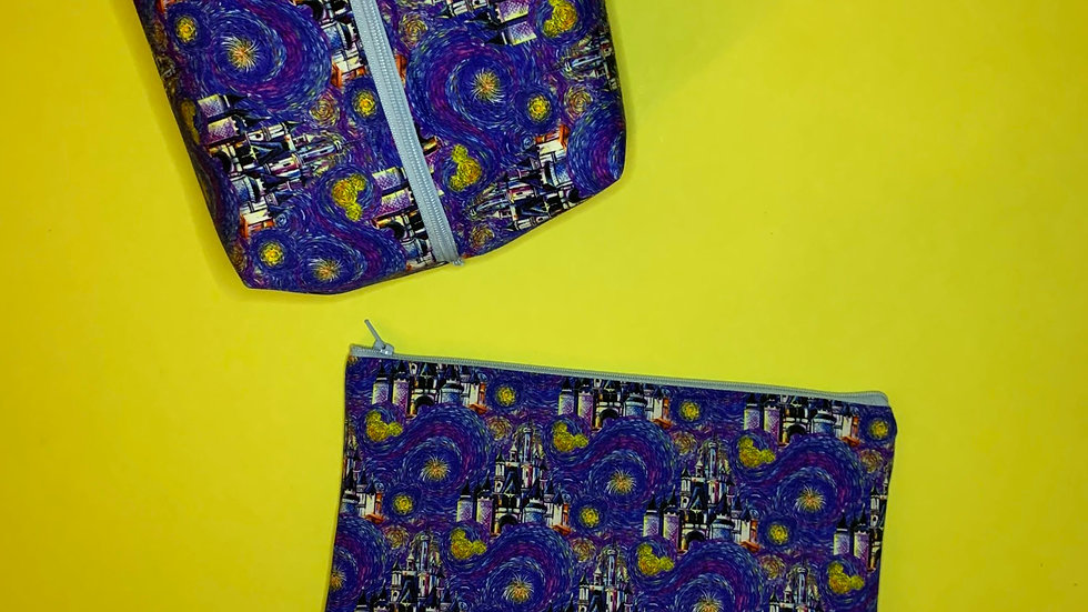Starry Night Castle boxy bag or makeup bag