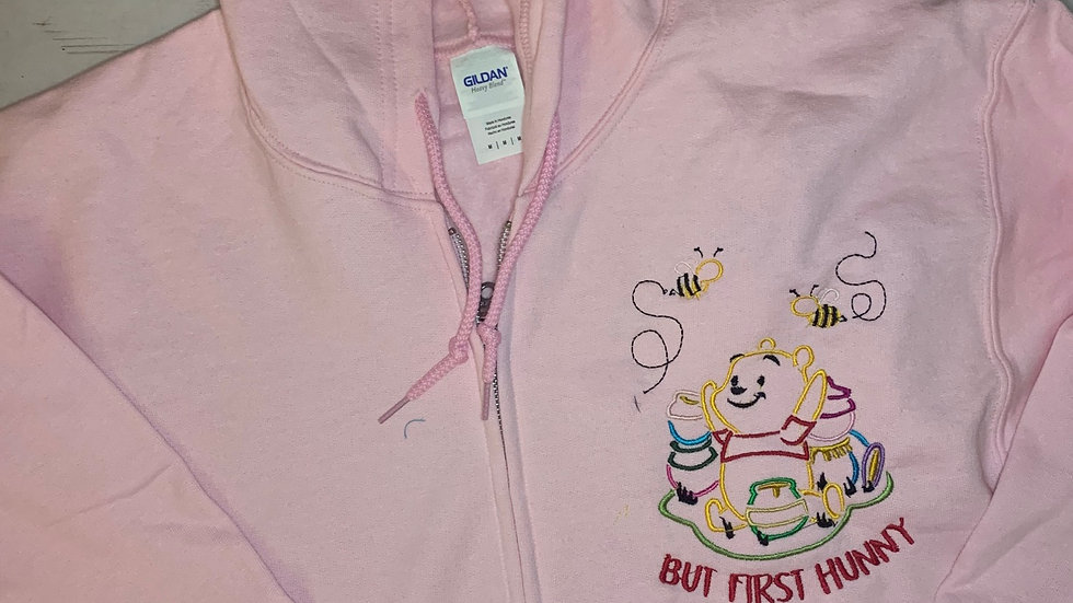 But First Hunny - Pooh Bear embroidered zip up hoodie