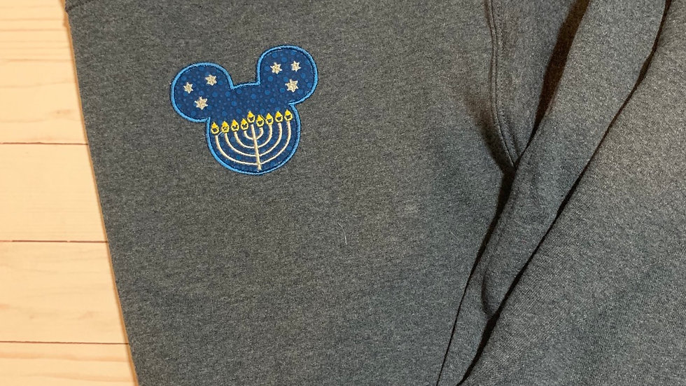 Hanukkah Mouse embroidered hoodie, pullover, 1/4 zip