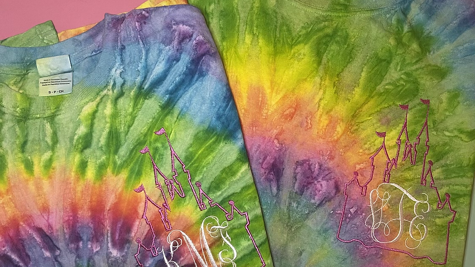 Castle Inspired Monogram embroidered Tie Dye Tee