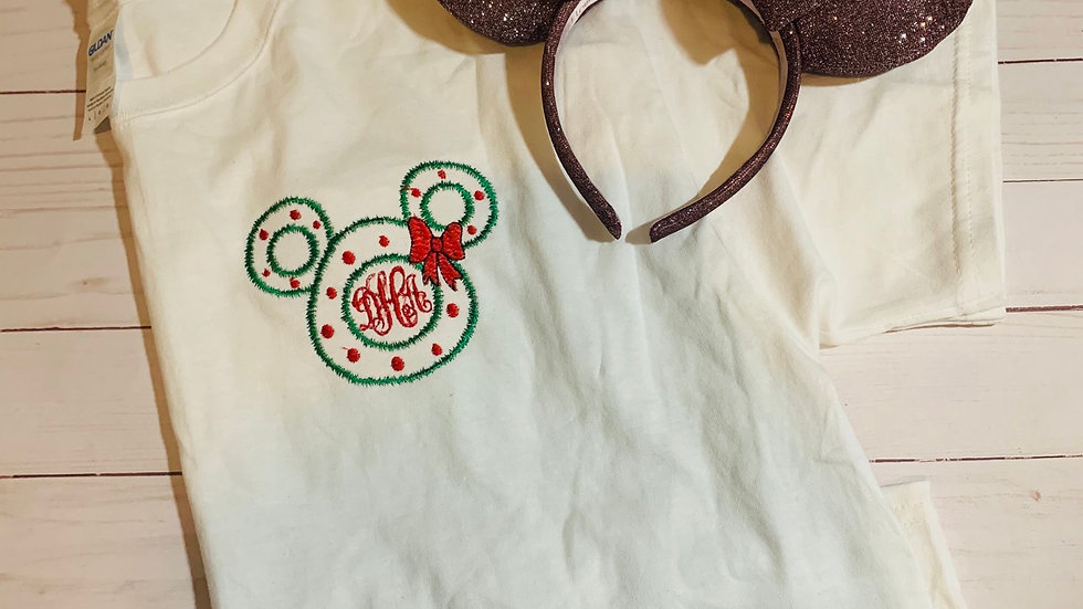 Mickey holiday wreath embroidered T-Shirt or tank top