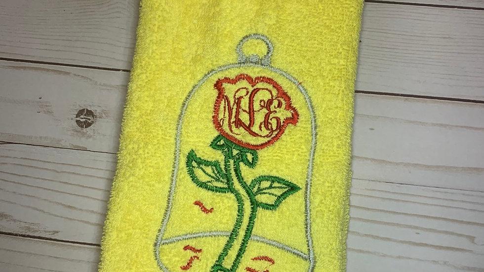 Enchanted Rose Monogram embroidered towels, blanket, makeup bag