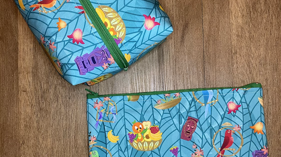 Enchanted Tiki Room boxy bag or makeup bag