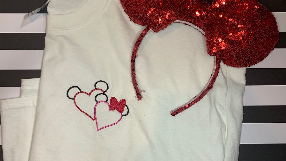 Minnie and Mickey Hearts embroidered T-Shirt or tank top