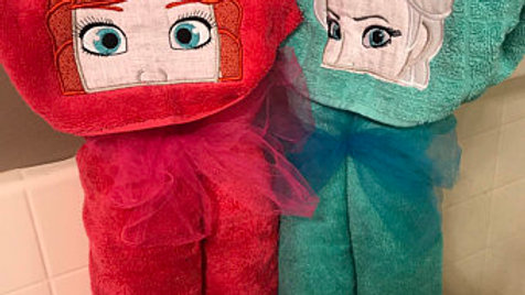 Anna or elsa hooded towel - name embroidery available