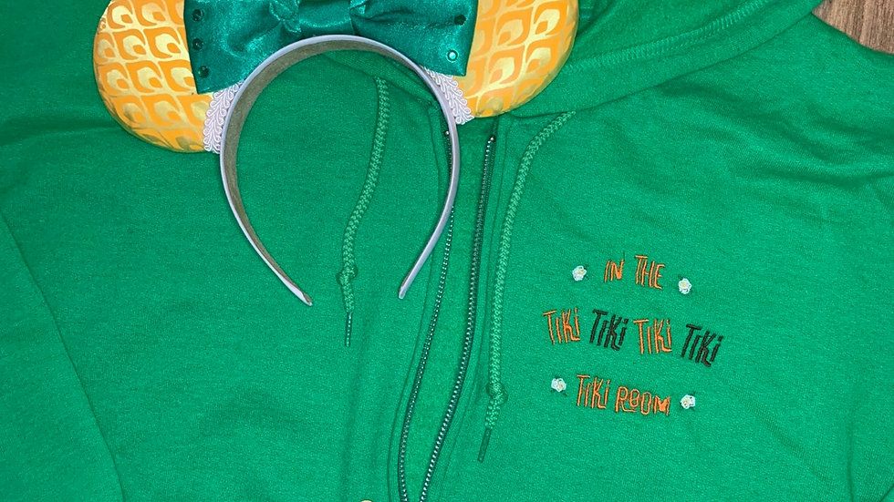 In the Tiki Room embroidered zip up hoodie