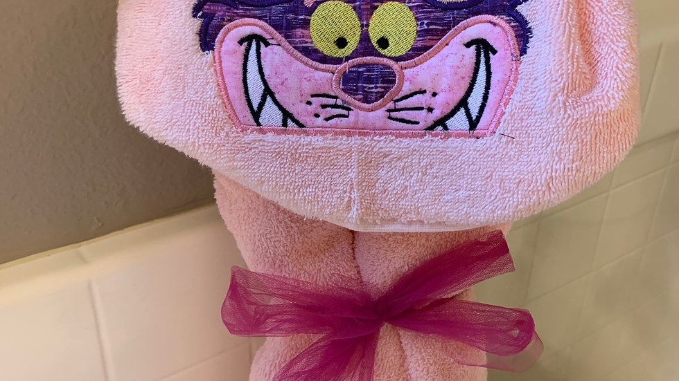 Cheshire Cat embroidered hooded towel