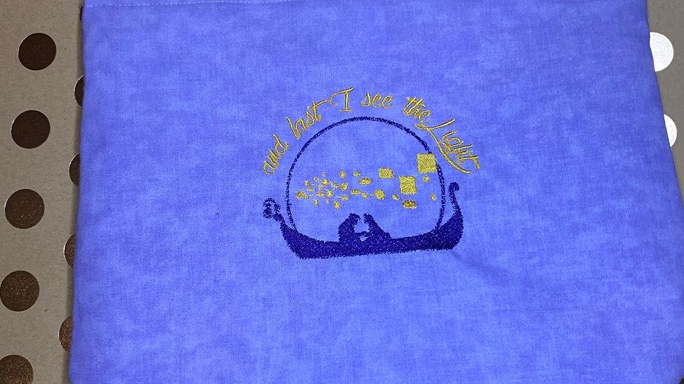 At last I see the light - rapunzel embroidered towels, blanket, makeup bag