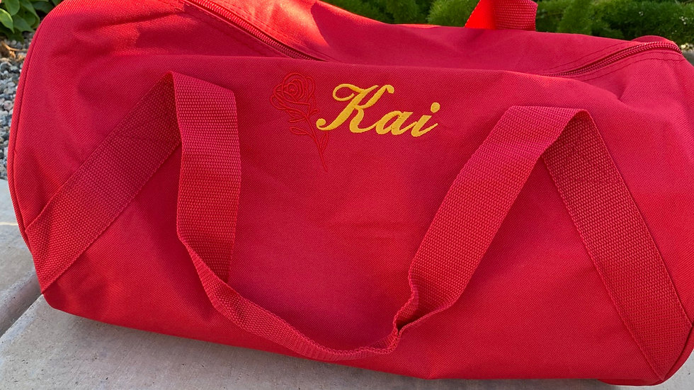 Belle enchanted rose embroidered duffel bag