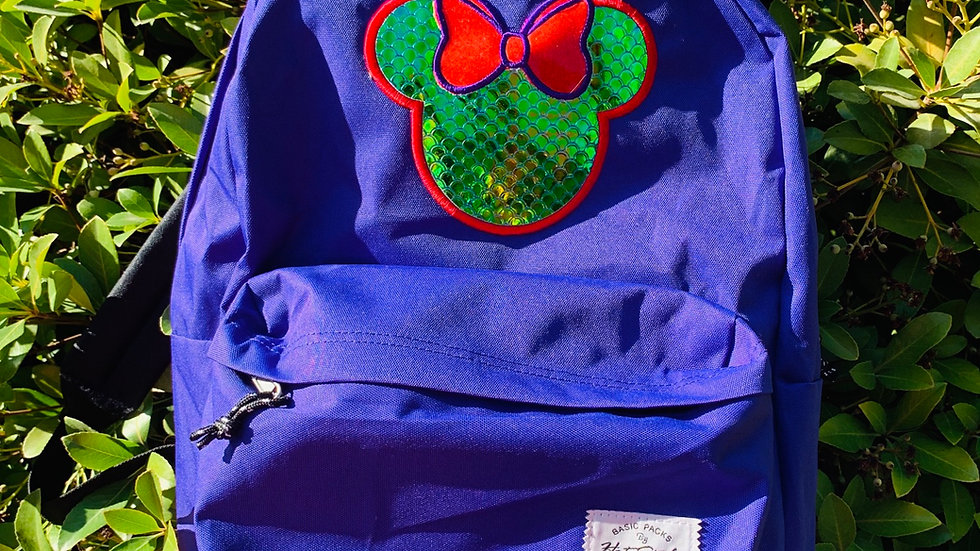 Ariel mouse embroidered backpack