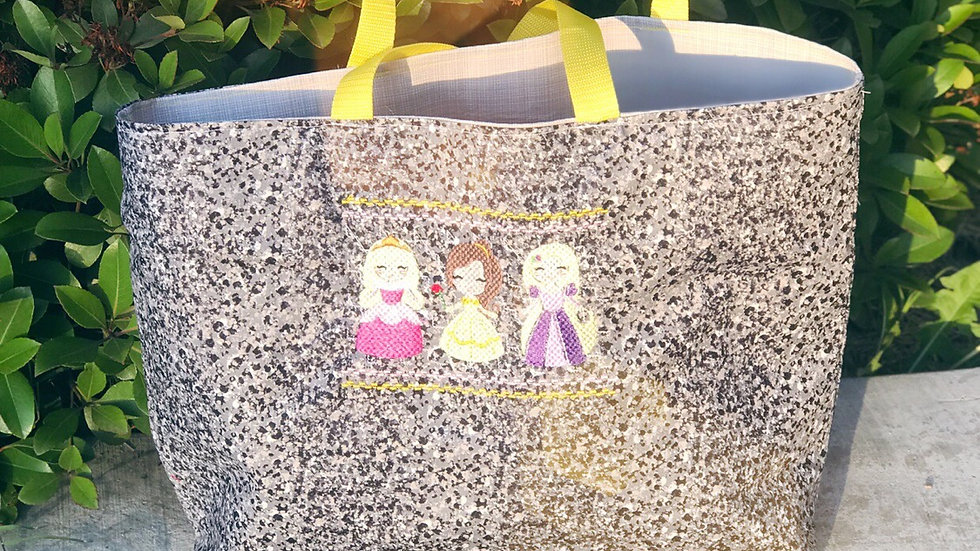 Aurora, Belle and Rapunzel embroidered tote bag, makeup bag, towel or blanket
